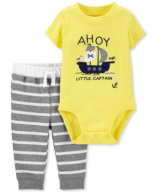 Carter's Baby Boys 2-Pc. Ahoy Bodysuit & Striped Pants Set