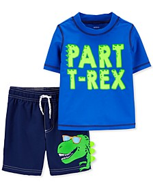 Baby Boys 2-Pc. T-Rex Rash Guard Set