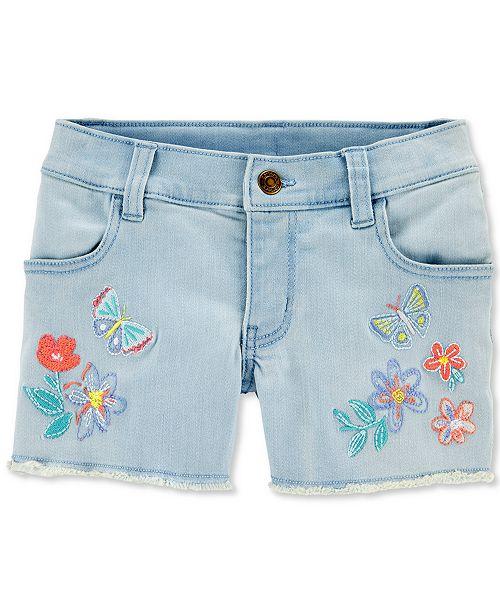 Carter's Little & Big Girls Butterfly Embroidered Denim Shorts
