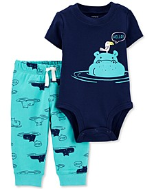 Baby Boys 2-Pc. Hippo Cotton Bodysuit & Pants Set