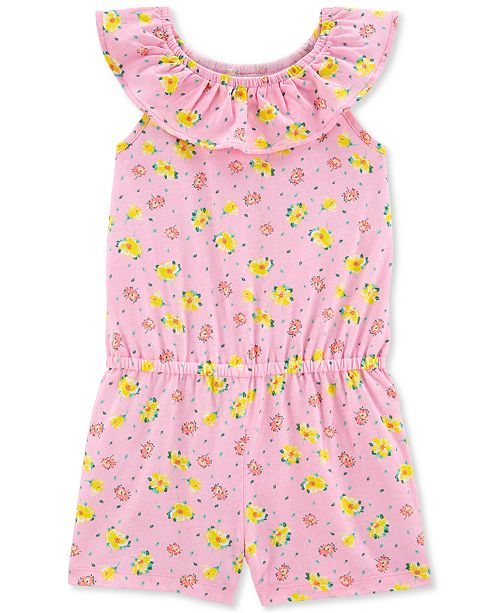 Carter's Little & Big Girls Pink Floral-Print Romper