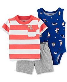 Baby Boys 3-Pc. Seagulls & Sailboats Cotton Bodysuit, Striped Shirt & Shorts Set