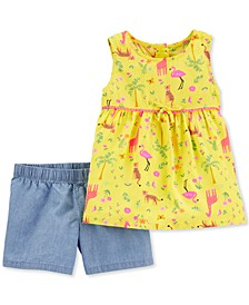 Baby Girls 2-Pc. Flamingo-Print Tunic & Chambray Shorts Set