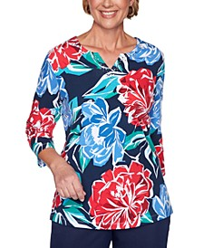 Ship Shape Beaded Floral-Print Top