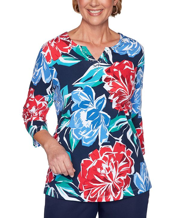 Alfred Dunner Ship Shape Beaded Floral-Print Top
