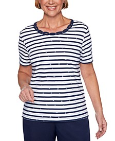 Ship Shape Striped Anchor-Print Top