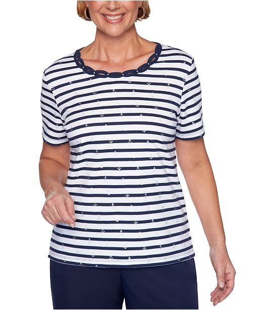 Alfred Dunner Ship Shape Striped Anchor-Print Top