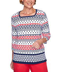 Alfred Dunner Ship Shape Boat And Dot Print Top