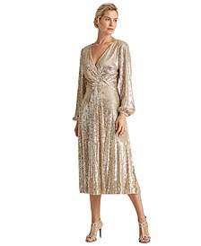 Sequined Surplice Dress