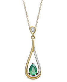 14k Gold Necklace, Emerald (5/8 ct. t.w.) and Diamond Accent Pear-Shaped Drop Pendant