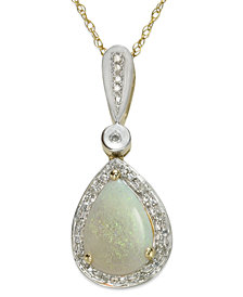 "Opal (7/8 ct. t.w.) and Diamond (1/10 ct. t.w.) 18"" Pendant Necklace in 14k Gold and White Gold"