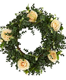 18in. Eucalyptus and Camellia Double Ring Artificial Wreath with Twig Base