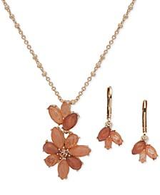 "Navette Stone Drop Earrings & Pendant Necklace Set, 16"" + 3"" extender"