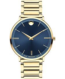 Men's Swiss Ultra Slim Gold-Tone PVD Stainless Steel Bracelet Watch 40mm