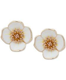 Crystal Flower Clip-On Button Earrings