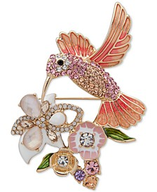 Gold-Tone Multicolor Crystal Hummingbird Pin