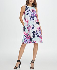 Sleeveless Trapeze Floral Dress
