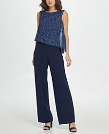 Sleeveless Jumpsuit W/Chiffon Overlay