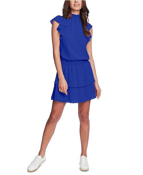 1.STATE Smocked-Neck Flutter-Sleeve Dress