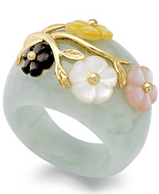 Jade and Multicolored Mother of Pearl (8mm) Flower Ring in 14k Gold over Sterling Silver