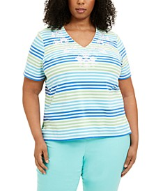Plus Size Sea You There Striped Top