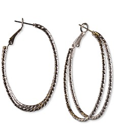 Silver-Tone Textured Double-Row Hoop Earrings, Created for Macy's