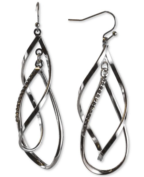 Charter Club Silver-Tone Pavé Interlink Drop Earrings, Created For Macy's