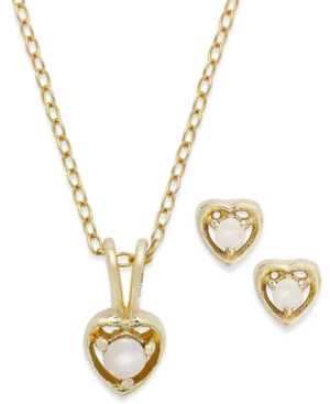 Children's 18k Gold over Sterling Silver Necklace and Earrings Set, October Birthstone Opal Heart Pendant and Stud Earrings Set (1/10 ct. t.w.)