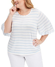 Plus Size Striped Ruffle-Sleeve Top