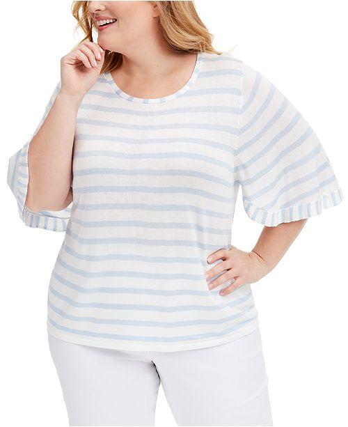 Calvin Klein Plus Size Striped Ruffle-Sleeve Top