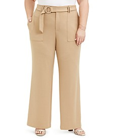 INC Plus Size Utility-Pocket Wide-Leg Pants, Created for Macy's