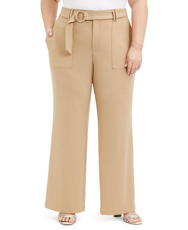 INC International Concepts INC Plus Size Utility-Pocket Wide-Leg Pants, Created for Macy's