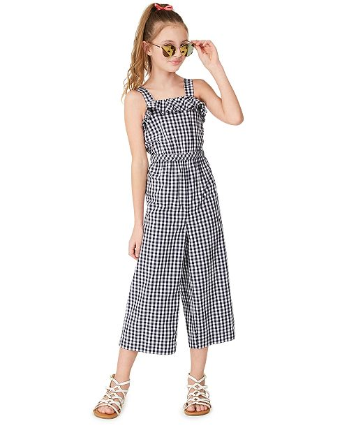 Charter Club Big Girls Mommy & Me Gingham Jumpsuit, Created for Macy's