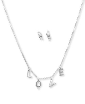 Silver Tone Leaf Charm Necklace /& Earrings Set New