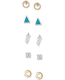 Two-Tone 5-Pc. Set Stud Earrings