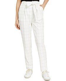 Belted Windowpane Slim Straight-Leg Pants, Created for Macy's