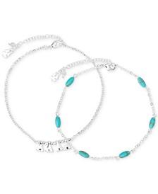 Silver-Tone 2-Pc. Set Pavé & Stone Ankle Bracelets