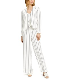 Open Striped Jacket & Striped Jumpsuit, Created for Macy's