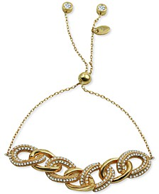 Cubic Zirconia Chain Link Bolo Bracelet in 18k Gold-Plated Sterling Silver