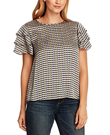 Geo-Print Tiered-Sleeve Top