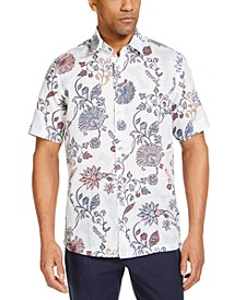 Men's Editto Floral Linen Short Sleeve Tropical Print Shirt, Created for Macy's