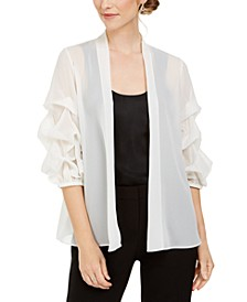 Sheer Ruched Puff-Sleeve Jacket