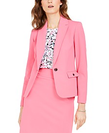 Single-Button Crepe Jacket