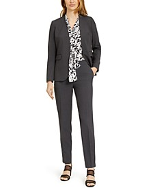 Open-Front Blazer Printed Top & Straight-Leg Pants, Created for Macy's