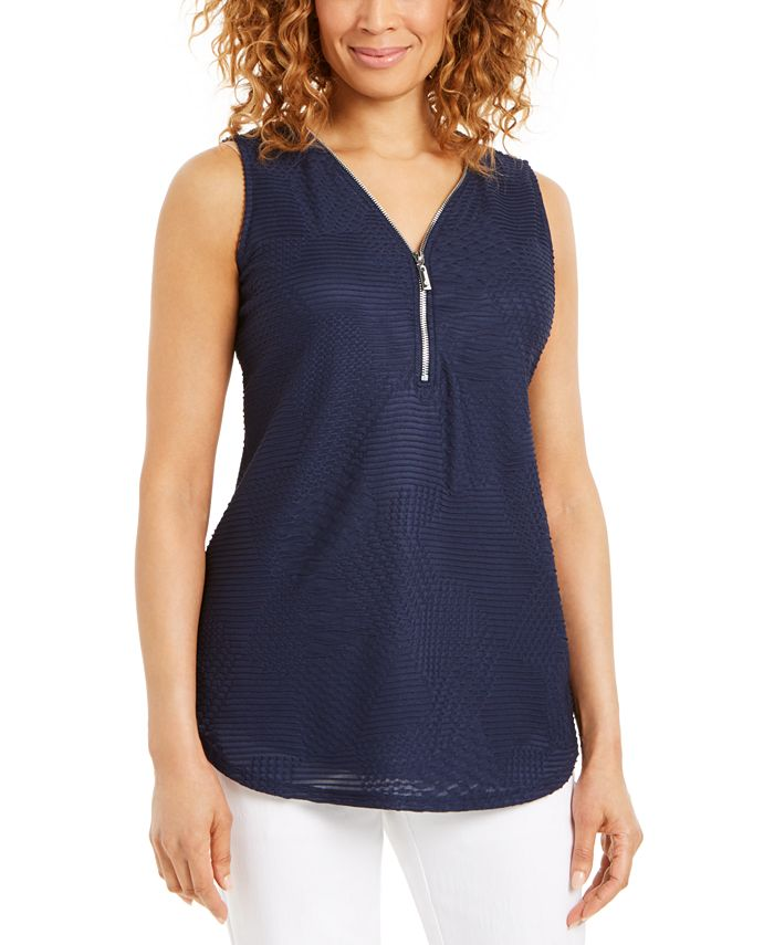 JM Collection - Zippered-Neck Top