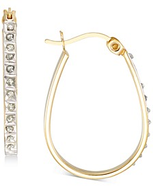 Diamond Accent Oval Hoop Earrings in 18k Gold-Plated Sterling Silver, Created for Macy's
