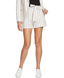 Striped Cotton Tie-Waist Shorts