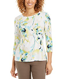 Petite Printed Embroidered 3/4-Sleeve Top, Created for Macy's