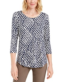 Printed 3/4-Sleeve Scoop-Neck Top, Created for Macy's