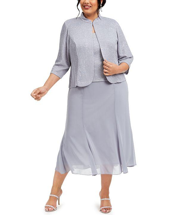 Alex Evenings Plus Size Metallic-Bodice Dress and Jacket